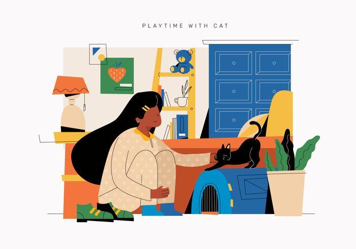 Ragazza sveglia ed il suo gatto che giocano nell'illustrazione piana di vettore della camera da letto