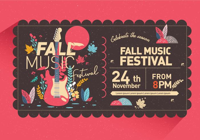 Fall Music Festival Invitation Vector