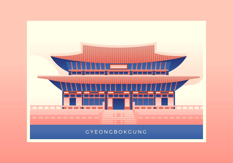 gyeongbokgung palace postcard vector