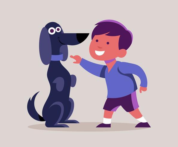 Jongen en zijn hond illustratie vector