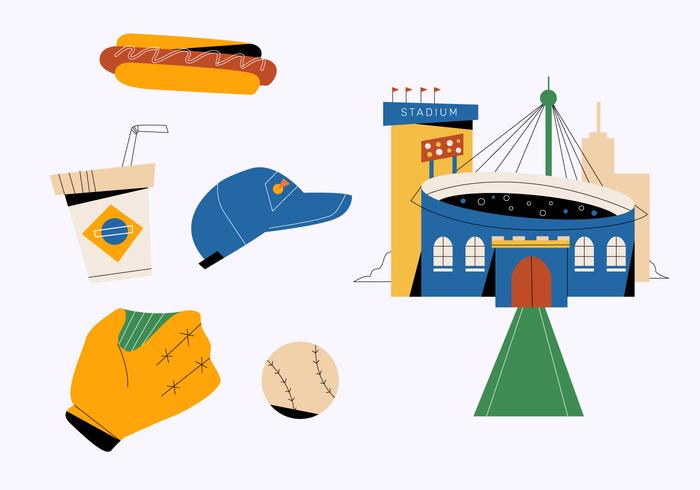 Baseball Stuff Infographic Vector Flat Illustration
