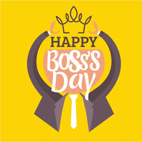 Vector illustration of a Flat Human with Tie. Reach the Crown for Boss's Day
