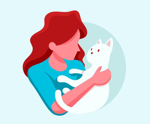 Abstract Girl Cuddling with her Cat Illustration