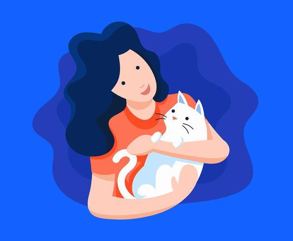 Mädchen und ihre Katze-Illustration