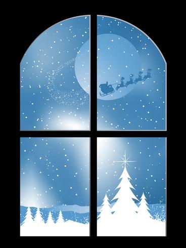 Schneebedeckte Nacht durch ein Fenster