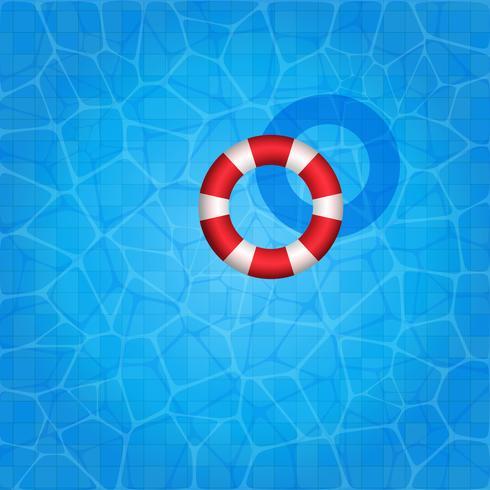Zwembad met rubberen ring erop drijvend