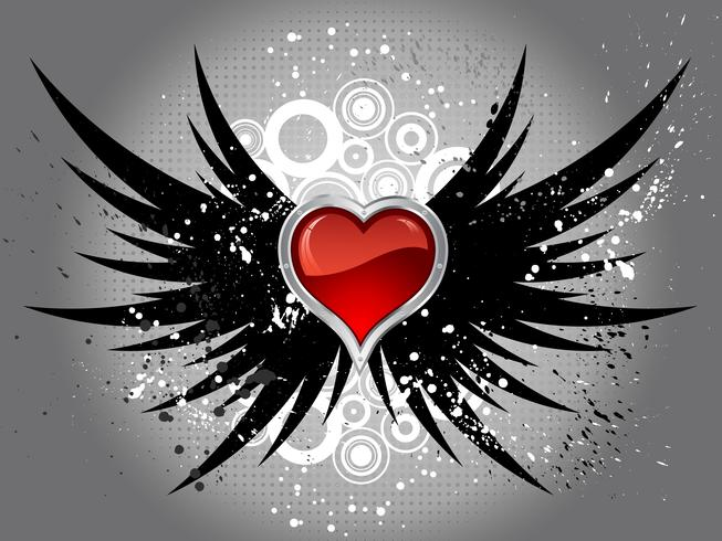 glossy heart on grunge wings