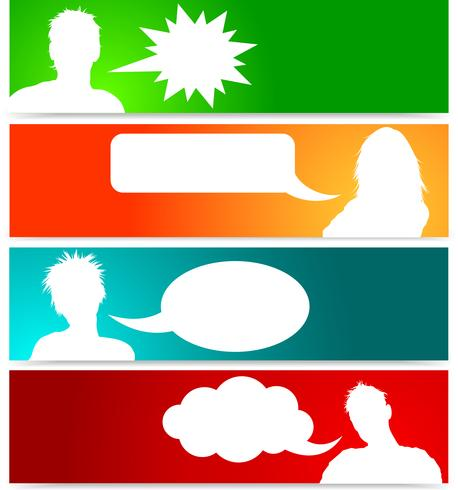 People avatars with speech bubbles