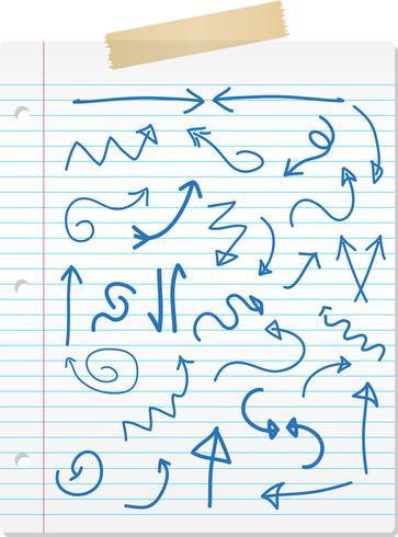 Hand getrokken pijlen op gelinieerd papier
