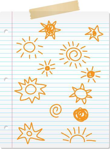 Hand gezeichnete Sonne kritzelt auf gezeichnetem Papier