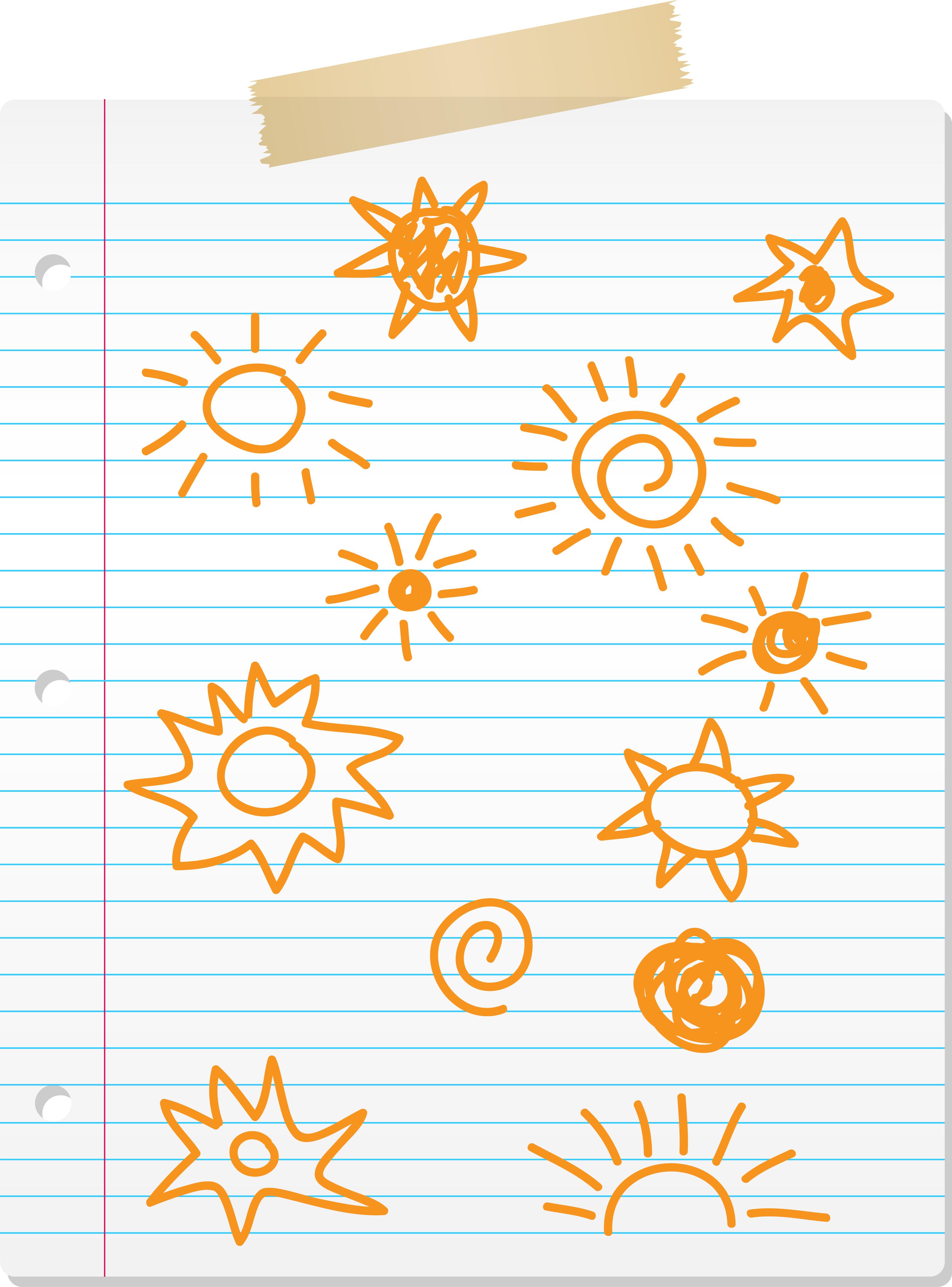 Garabatos de sol dibujados a mano en papel rayado - Descargue ...
