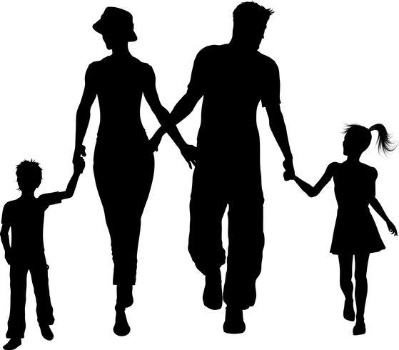 silhouette de famille marchant