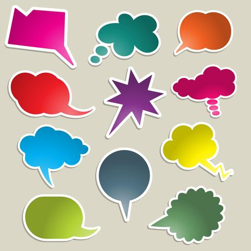 Brightly coloured speech bubbles