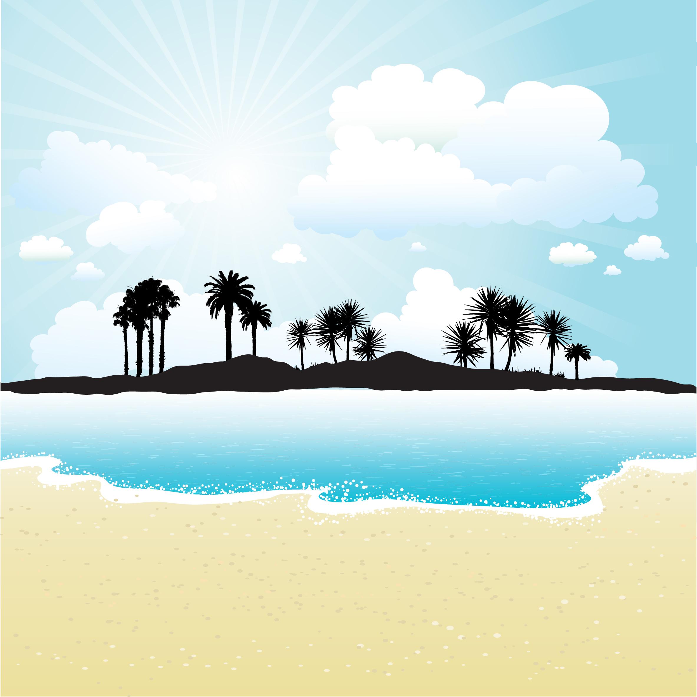 Tropical Island Paradise: Tropical Island Free Vector Art