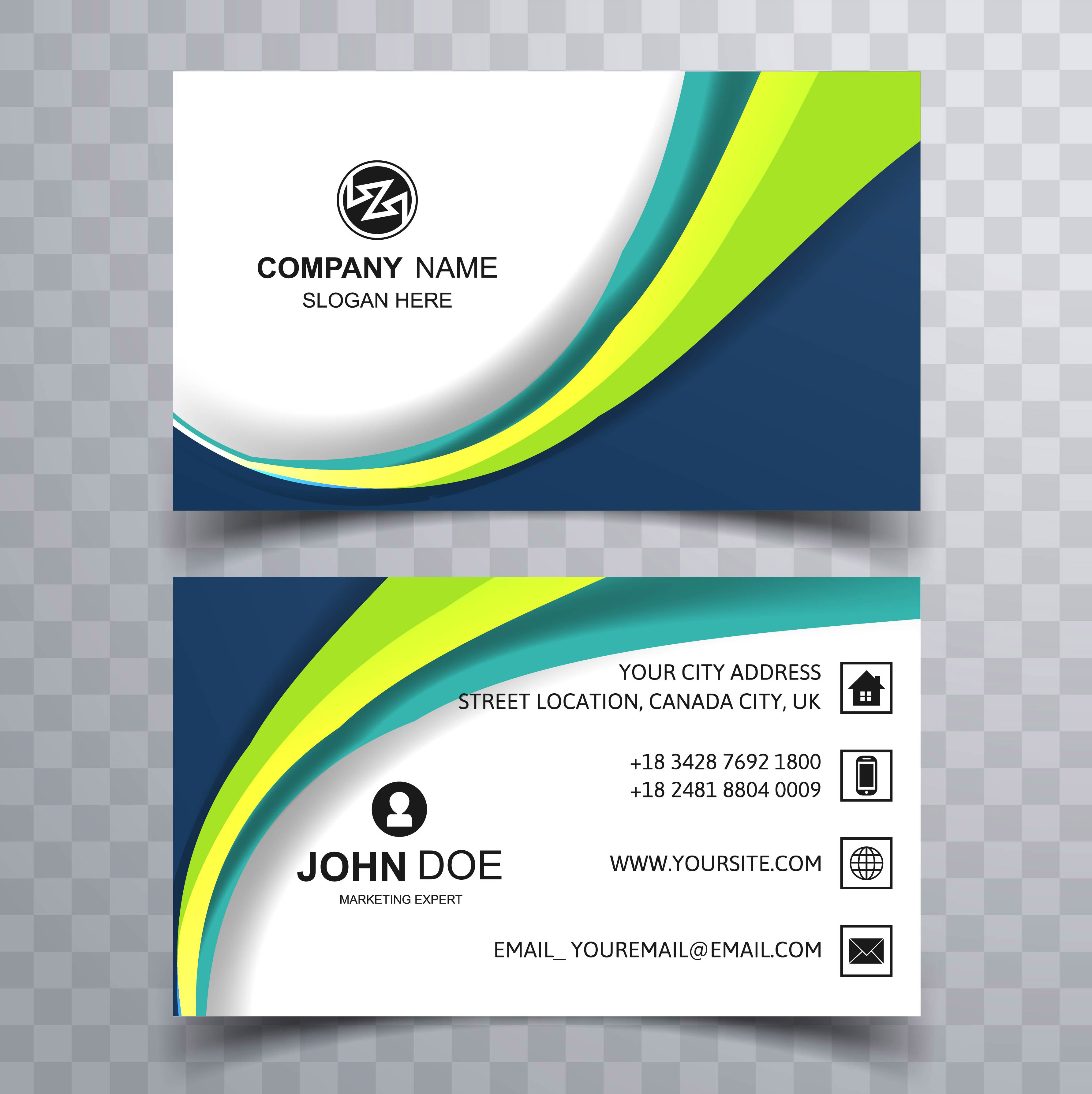 beautiful wave business card template background 237169