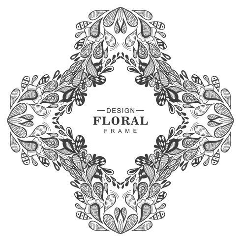 Abstracte decoratieve bloemenframe achtergrond vector