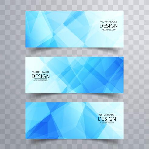 Conception de bannières géométriques bleues modernes