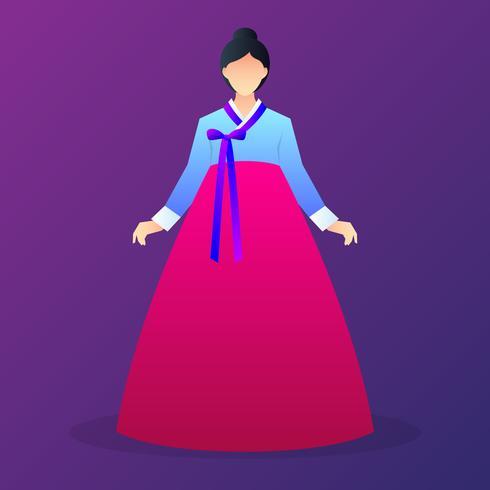 Senhora personagens vestindo Hanbok