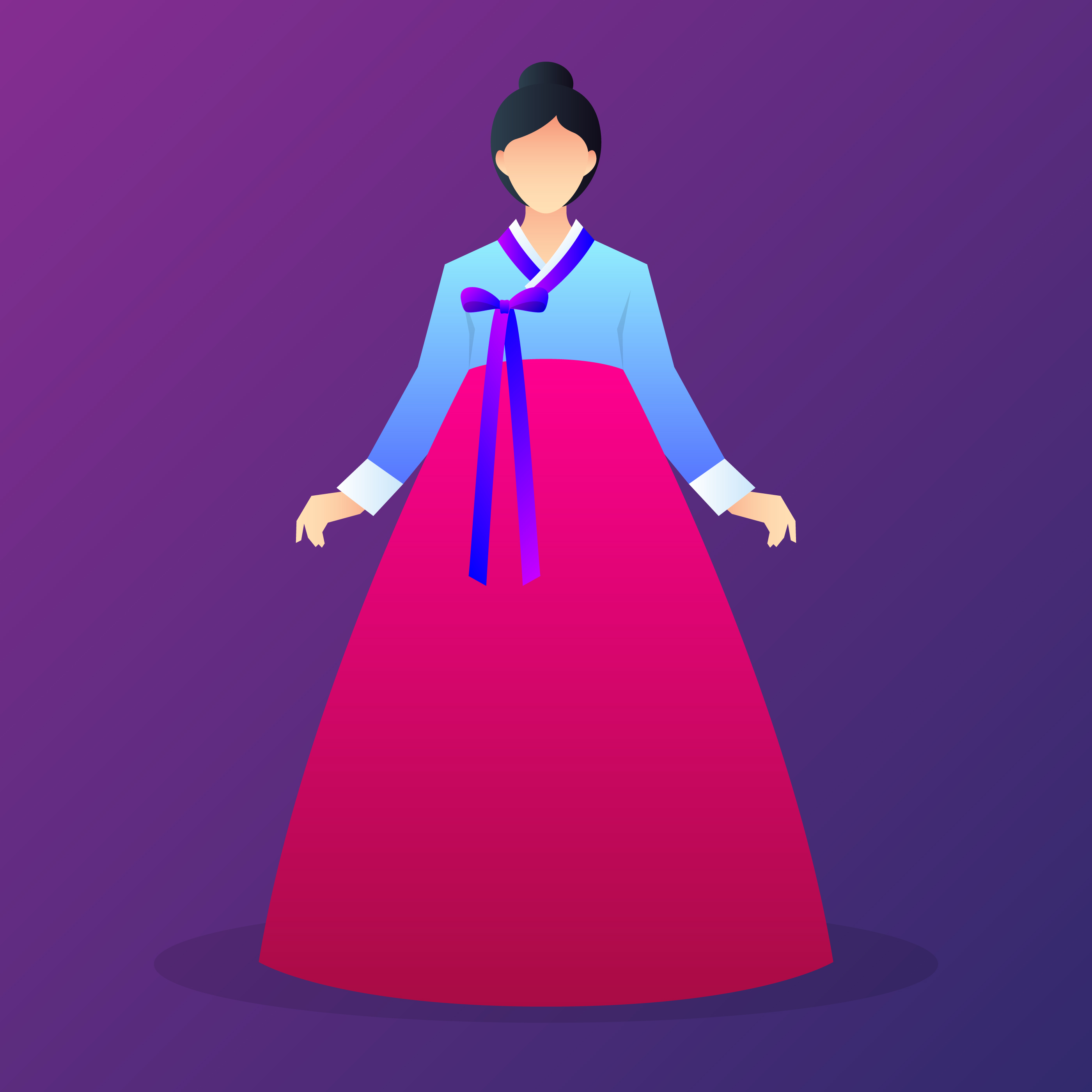 lady characters wearing hanbok download free vectors