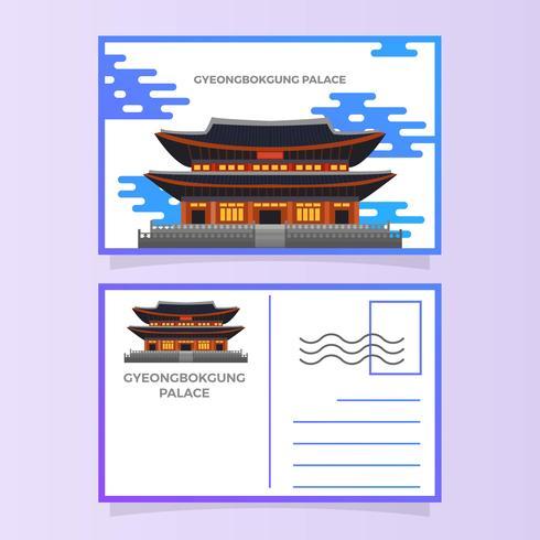 Flat Gyeongbokgung Palace Postcard Vector Illustration