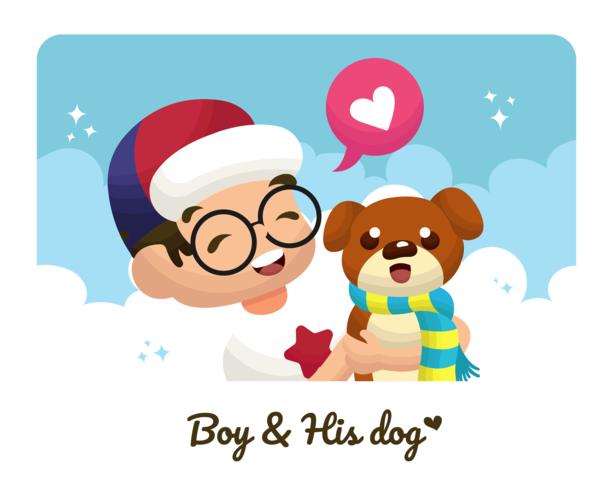 Jongen en zijn hond Vector