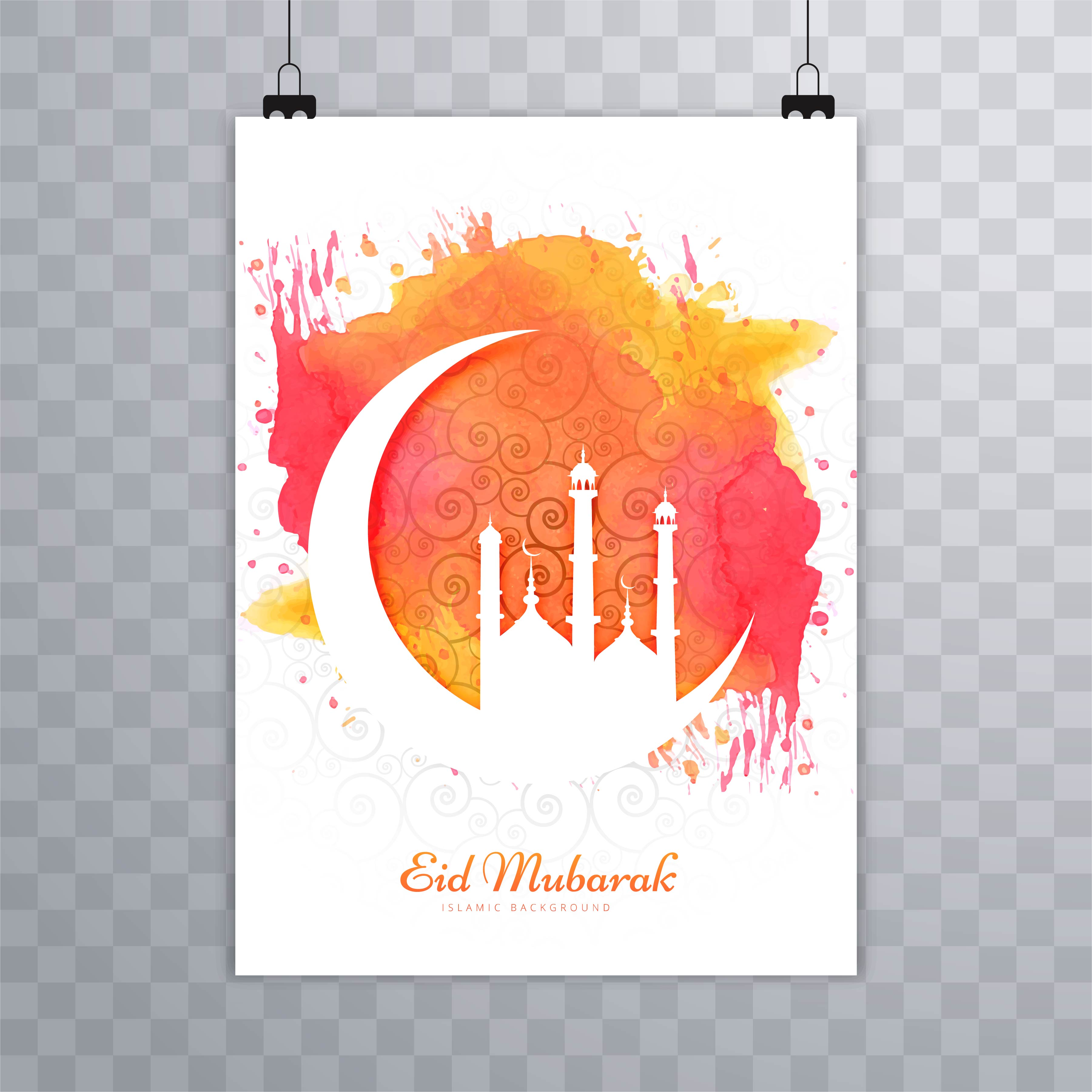 abstract eid mubarak brochure template 237407 vector art