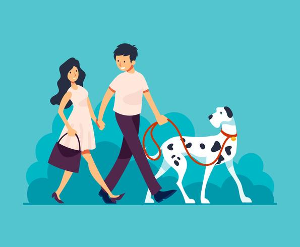 Couple Walking Dog Illustration