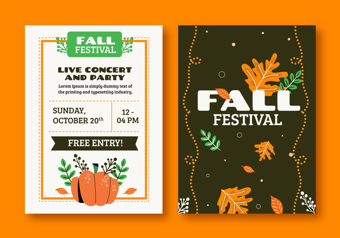 October Fall Festival Brochure Invitation Template Vector Illustration
