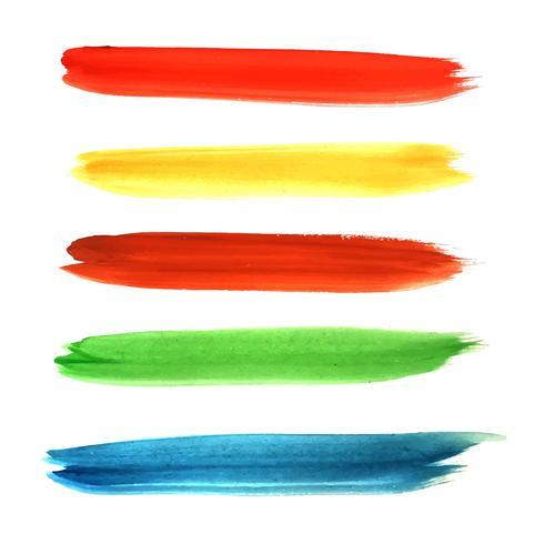 Moderna akvarellhand rita färgglada stroke design set