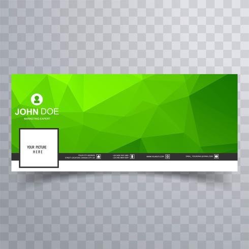 Banner de línea de tiempo polígono geométrico verde moderno facebook