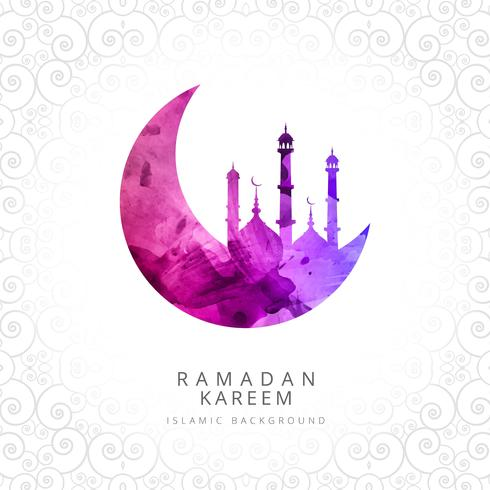 Ramadan Kareem elegant card with mosque decorative background