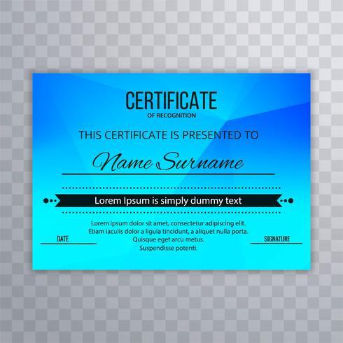 Modern blå certifikat design illustration