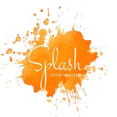 Abstract orange bright watercolor splash design
