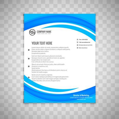 Abstrakt vågigblå affär broschyr mall design