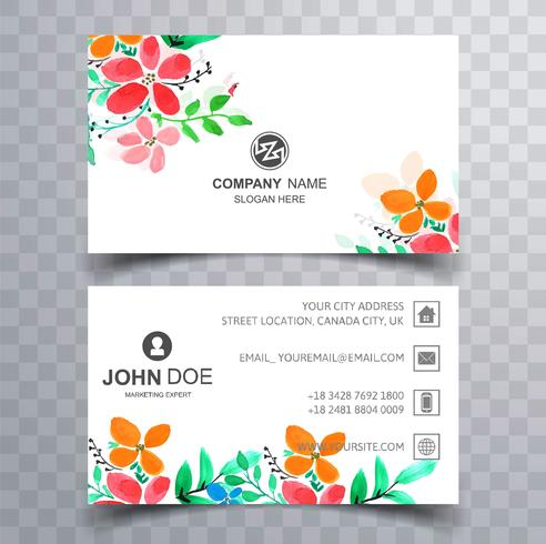 Modern colroful floral business card set design