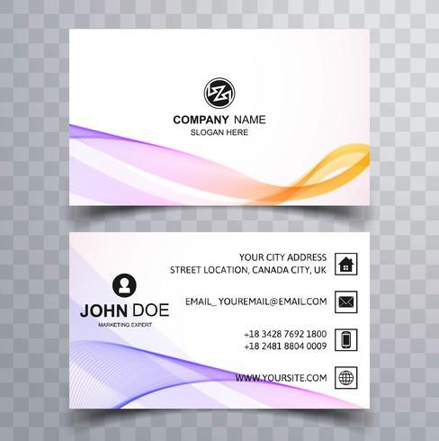 Design elegante colorido cartão de onda colorida buisness vetor