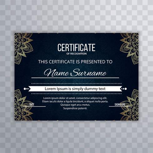 Hermoso diseño de certificado floral floral