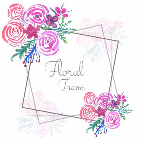 Abstract watercolor wedding floral frame background