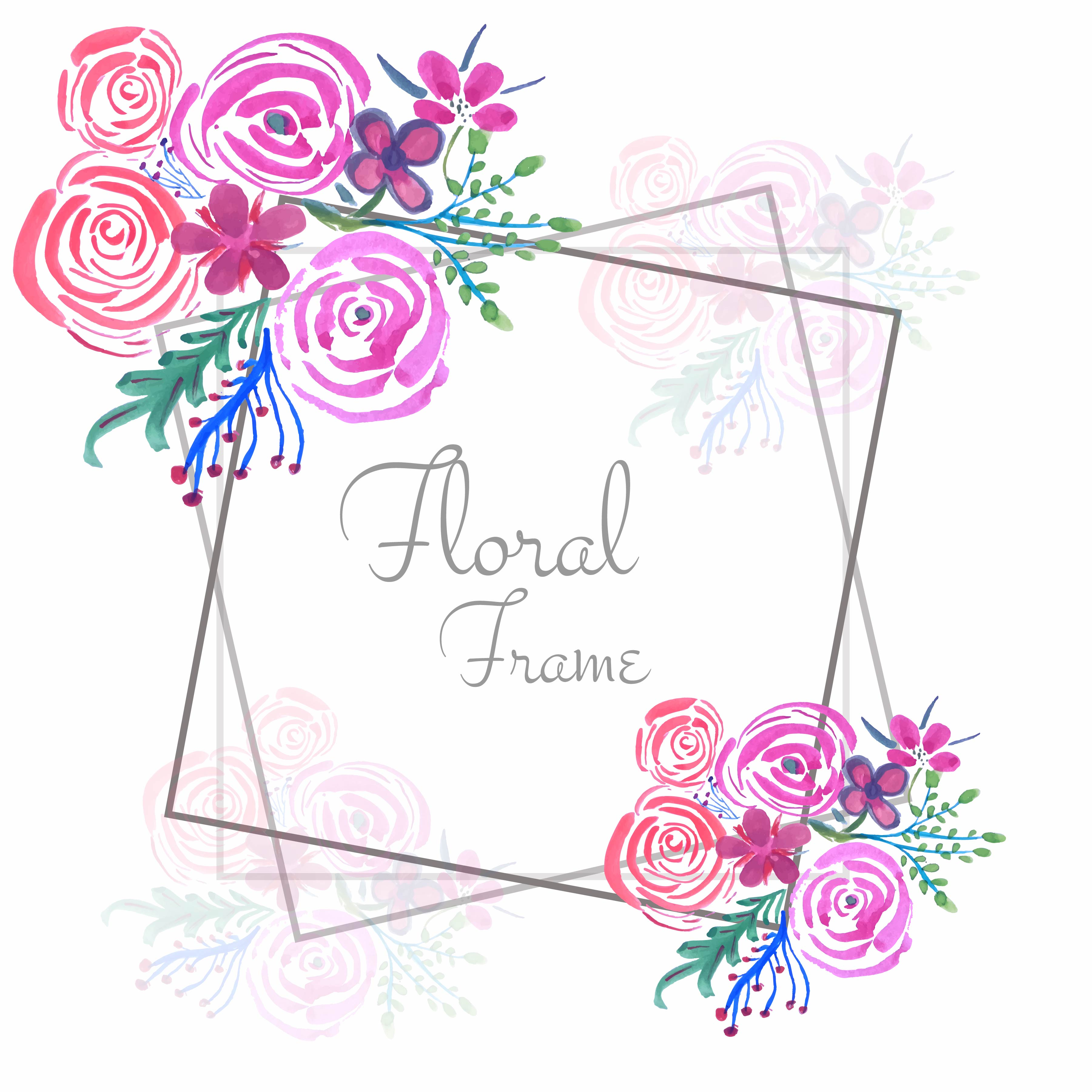 Abstract Watercolor Wedding Floral Frame Background Download Free