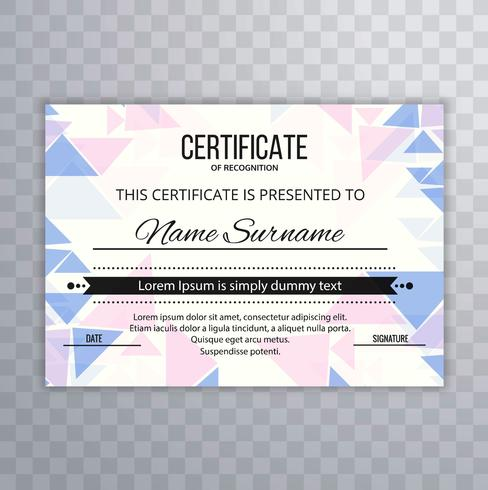 Abstract polygon colorful certificate template vector