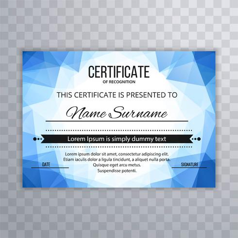 Fondo de plantilla de certificado de polígono azul moderno