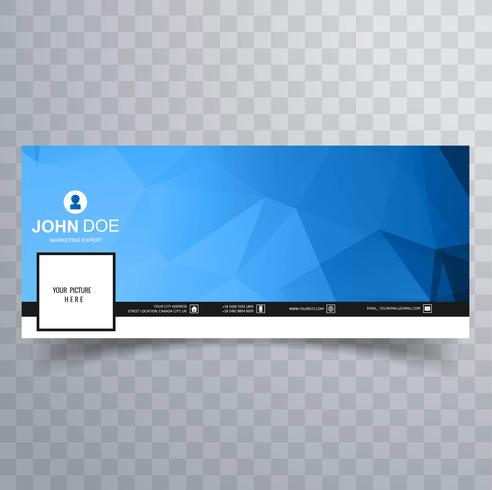 Abstrakt blå polygon facebook banner mall