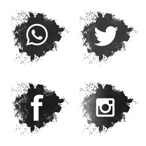 Sociala medier svart grunge ikoner uppsättning