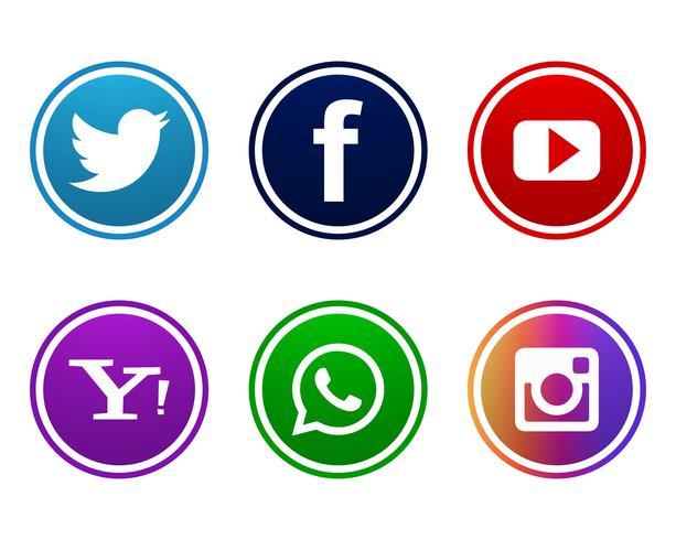 Design de ícones de mídia social linda cenografia