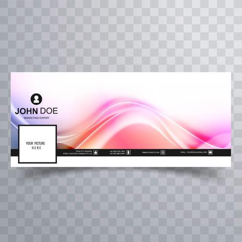 Plantilla de cubierta moderna línea colorida ola facebook