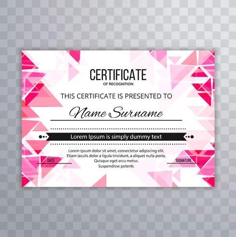 Projeto abstrato do molde do certificado do polígono