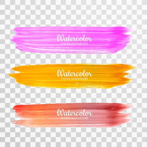 Abstrakt färgglad räcka tecknad vattenfärg stroke design set