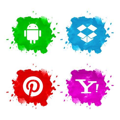 Diseño de conjunto de icono de redes sociales abstractos