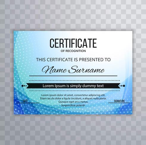 Abstrakt blå certifikatmall bakgrund