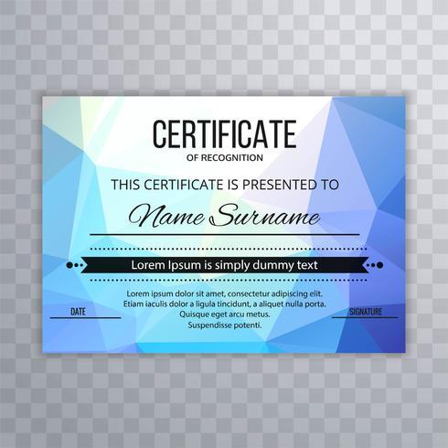 Vacker färgrik polygon certifikatmalldesign